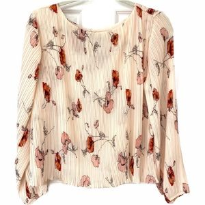 NWT RD & Koko Blush Pink Floral Pleated Blouse